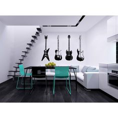 'Electric Guitars' Interior Vinyl Wall Decal   Overstock™ Shopping - The Best Prices on Vinyl Wall Art