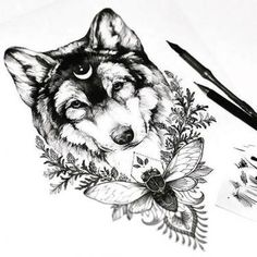 Awesome Wolf Head With Moon and Flowers Tattoo Design