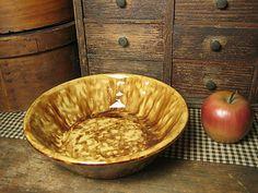 Beautiful Old Spongeware Yellowware  Nappy Bowl  http://www.rubylane.com/item/497177-7710/Beautiful-Spongeware-Yellowware-Nappy-Bowl  #HannahsHouseAntiques  #Stoneware