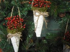 Fill with holly! crumpledenvelope: Birch bark cone filled with wild rosehips by NHWoodscreations Christmas Berries, Christmas Wishes, Rustic Christmas, Winter Christmas, Christmas Holidays, Christmas Wreaths, Christmas Decorations, Christmas Ornaments, Pew Decorations