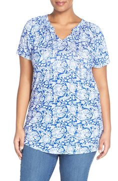 Lucky Brand Floral Print Split Neck Top (Plus Size)