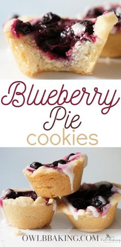 These little blueberry pie cookies are a quick and easy pie recipe and are WAY better than your average blueberry pie! They pack in so much flavor and are mini, which makes them the perfect dessert for parties! #blueberrypie #cookiecups #minipies #blueberrydesserts #pieforacrowd #springrecipes #piedesserts