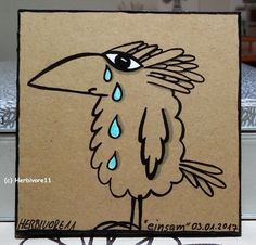 EINSAM von Herbivore11 Unikat Vogel Rabe Kleinkunst Minibild Inchie Tränen Bild