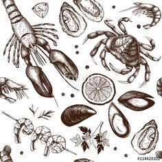 "Download the royalty-free vector ""Vector Seamless Seafood background. Hand drawn sea food illustration - fresh fish, lobster, crab, oyster, mussel, squid and spice. Vintage fish dishes pattern."" designed by geraria at the lowest price on Fotolia.com. Browse our cheap image bank online to find the perfect stock vector for your marketing projects!"
