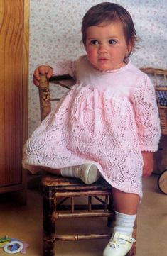 PDF Vintage Knitting Pattern to make a Baby Dress 3-12 months 3 ply yarn