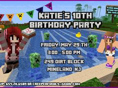 ($7.50) ** MINECRAFT POOL PARTY GIRLS PERSONALIZED INVITATION ** When you buy this item you receive your custom invitation like JPG file (image) and PDF file (includes 2 invitations). I need to know the information about your party to make your custom invitation, so you need write them to me to this email: partyprintables2015@gmail.com This item is a DIGITAL FILE that you can print at home or in a print shop. You don't receive a PHYSICAL PRODUCT. You can print it as many times you need. HOW…