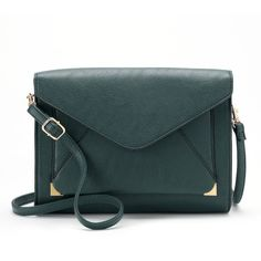 Apt. 9® Anna Crossbody Clutch ($18) ❤ liked on Polyvore featuring bags, handbags, clutches, blue, blue crossbody purse, teal handbag, green crossbody purse, apt 9 purses and blue crossbody