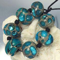 Lampwork Glass Beads Set Ocean Blue by LAJewelryDesigns on Etsy, $28.00