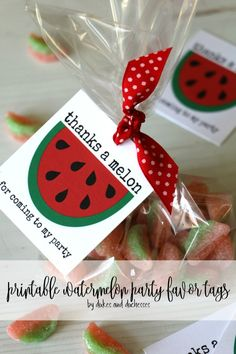 Planning a watermelon themed party? Grab these free printable watermelon party favor tags and add them to a treat for guests. Watermelon Party Decorations, Summer Party Favors, Watermelon Birthday Parties, Party Favors For Adults, Fruit Birthday, Party Favor Tags, Watermelon Crafts, Favor Bags, First Birthday Theme Girl
