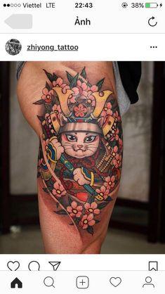 Tattoo L, Calf Tattoo, Body Art Tattoos, Maneki Neko, Daruma Doll Tattoo, Tattoo Samurai, Manta Ray Tattoos, Lucky Cat Tattoo, Kawai Japan
