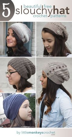 5 Beautiful + Free Slouch Hat Patterns | Free Slouchy Hat Crochet Patterns by Little Monkeys Crochet