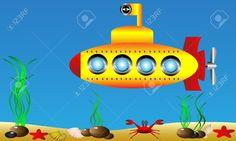 Cartoon Submarine Investigates The Ocean Royalty Free Cliparts ...