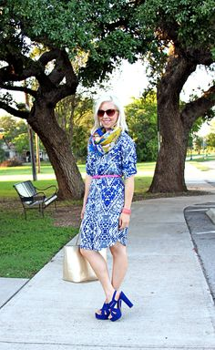 Blogger @Kristen Jansen from The Mrs & the Momma rocks her CAbi Spring '13 Jewel Shirt Dress and sports a pair of sassy sapphire heels and off sets the blue with a hot pink belt! http://www.themrsandthemomma.com/