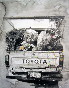 Marco Zamora was born and currently lives and works in Los Angeles, California. In 2004 he graduated from California Institute of the Arts, with a Bachelor of Fine Art. Using the paintbrush and pen to draw, Marco develops imagery about the urban landscape and the people that inhabit it. Producing a richly complex and experimental image, Marco goes into a neighborhood and shoots a spot, recontectualizing and collaging figures to create each paintings identity.