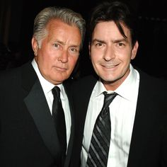 Martin Sheen and his youngest son Charlie Sheen.