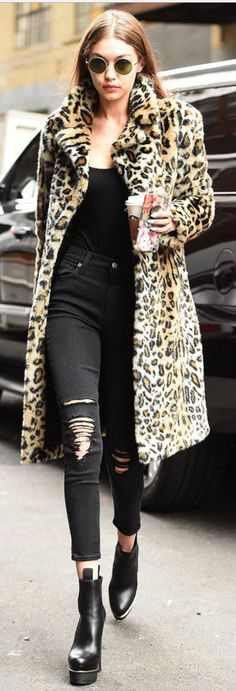 Coat – Majorelle - Who made Gigi Hadid's leopard coat, platform ankle boots, and black handbag?