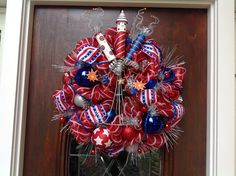 Bombs Bursting In Air Mesh Wreath by HertasWreaths on Etsy