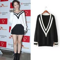 Fashion navy style casual sweater Free size Size: Shoulder 34,Bust 100,Sleeve 62,Length 70