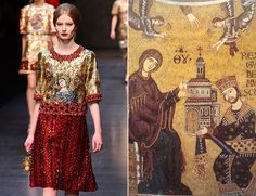 Dolce & Gabbana Fall/Winter 2013 and Cathedral of Monreale, Sicily Fall/Winter 2013 Canvasses on the Catwalk