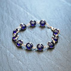 Sterling silver evil eye bracelet  navy blue by crashandduchess