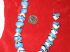Strand of Heart Shaped Glass Beads in Blue Black and by cthorses66, $3.00