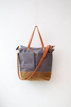 Grey & Tan waxed canvas baby diaper bag nappy bag zipper tote bag