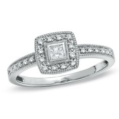 1/6 CT. T.W. Princess-Cut Diamond with Square Frame Engagement Ring in 10K White Gold - Zales. Only $259