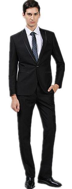 Men's Suit Business Work Set Black 1 buttons Jacket & Pant Slim Fit