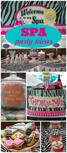 A spa themed girl birthday party with manis, pedis and pink milkshakes for the girls! See more party planning ideas at CatchMyParty.com!
