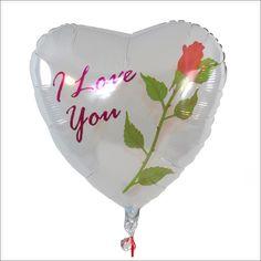 """Herzballon weiß - I love you mit roter Rose  Dieser herzliche Liebesgruß bietet wirklich alles, was für ein romantisches Geschenk benötigt wird. Ein weißer Herzballon, eine rote Rose, untermalt mit der Liebesbotschaft """"I love you""""  - dieses Liebestrio bringt garantiert jedes Herz zum Schmelzen"""