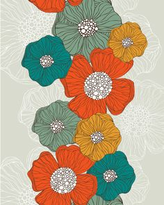 Love the colors! (Flowers print by Valentina Ramos)