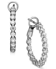 Diamond Earrings, 14k White Gold Diamond Hoop