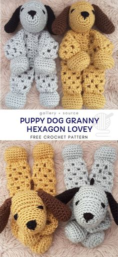 Puppy Dog Granny Hexagon Lovey Crochet Free Pattern- Baby Security Comforter Free Patterns crochet patterns for baby Puppy Dog Granny Hexagon Lovey Crochet Free Pattern - Crochet & Knitting Crochet Security Blanket, Lovey Blanket, Blanket Crochet, Blanket Stitch, Crochet Granny, Crochet Patterns Amigurumi, Crochet Dolls, Crochet Hats, Crochet For Kids