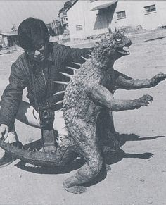 Behind the scenes with the miniature Varan prop used in DESTROY ALL MONSTERS.