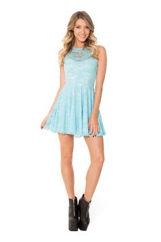 Sky Blue Lace Skater Dress- LIMITED (WW $90AUD / $85USD) by Black Milk Clothing