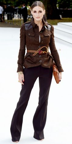 Olivia Palermo - Look of the Day - InStyle -  Olivia Palermo attended the Burberry Prorsum runway show in the label's belted tweed topper, a brown clutch, statement bracelet and wide-leg trousers.
