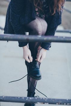 Grunge. Boots. Pantyhose. Ripped. Sweater. Floral. Girl.