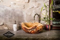 Small Handcarved Wood Burl Sink Bohemian decor Bathroom  by TOUTANBWAYellow Birch bowl with bark details OOAK rustic chic decor