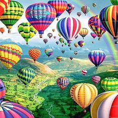 Diamond art is beautiful and we've got the best diamond painting kits around! Check out our what is diamond painting guide for diamond painting tips Gravure Illustration, Art Et Illustration, Air Balloon Festival, Air Balloon Rides, Hot Air Balloons, Rainbow Balloons, Air Ballon, 5d Diamond Painting, Nature Pictures