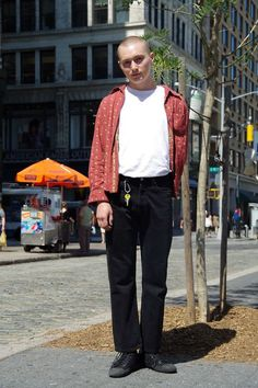 Street Style of New York: Ben Kadon in Hanes Tshirt, Supreme Trousers & CONVERSE shoes | More photo at Fashionsnap.com