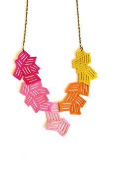 Geometric Necklace Neon Color Block Chevron by BooandBooFactory, $58.00
