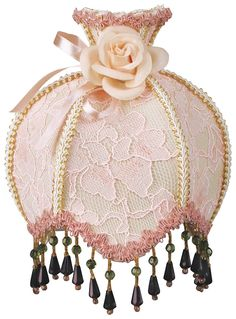 Royal Designs Beaded Pink Victorian Nightlight w/ Designer Brocade Fabric w/ Off-White and Pink Trims, w/ Rosette (NL-106) >>> Sensational bargains just a click away : Decor Lamp Shades