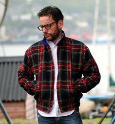 Harrington Jacket, Harris Tweed, Tartan, Royal Blue, Men Casual, Menswear, Range, Brass, Zip