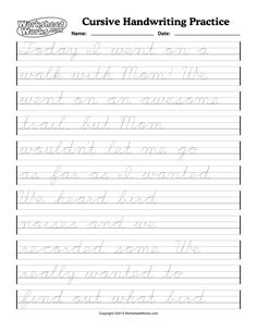 cursive handwriting worksheets | Cursive Writing Worksheet One Word English Pic #18