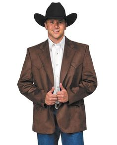 """Circle S Men's Chestnut Micro-Fiber Sport Coat  """"gifts for cowboys"""" """"gifts for men"""" drysdales.com western menswear for cowboys yokes suede-like soft outerwear dressy semi-formal Fall Winter """"men's blazer"""""""