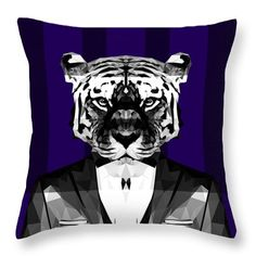 Abstract Tiger Throw Pillow Geometric Pillows Custom Pillow Cover Designs by Filip Aleksandrov