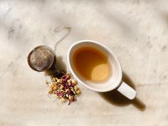 A subtle, floral flavour with golden hues, this is a gentle and comforting drink with no caffeine, making it suitable any time of the day #mindfulness #herbaltea #teaaesthetic #selfcare Organic Loose Leaf Tea, Herbal Tea, Caffeine, Mindfulness, Drink, Tableware, Floral, How To Make, Beverage