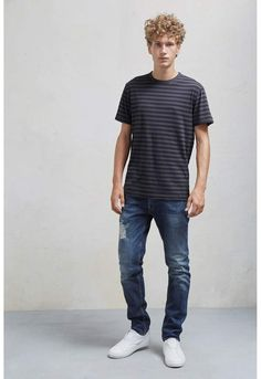 0aa8ddd65cffb French Connection Garment Dye Stripe Crew Neck T Shirt Latest Jeans