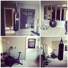 My home gym. Chalkboard painted wall for workouts! Love how it turned out! Home Gyms - http://amzn.to/2hoGXRy