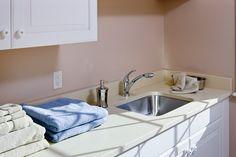 modern laundry room ~ Desert Limestone CaesarStone Counters and nice sink Pantry Laundry Room, Modern Laundry Rooms, Countertops, Kitchen Remodel, Sink, Pantry Ideas, Home Decor, Counter Tops, Sink Tops